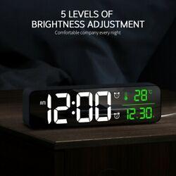 Modern Dual Alarm Clock USB Night Light Thermometer Digital LED Display Table