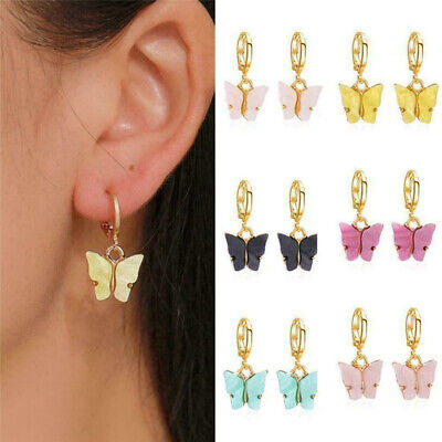 Elegant Women Lady Acrylic Butterfly Ear Hoop Drop Dangle Earrings Jewelry Gift