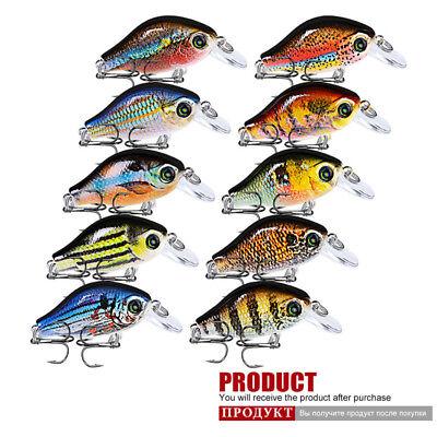 Lot 6pcs Crank Bait Fishing lures Lure 9cm//16.7g Crankbait 4# Hooks Fish Tackle