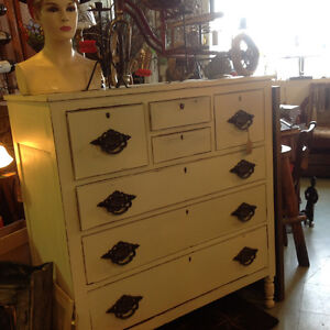 Old painted dresser, bench, wardrobe, much cast iron........