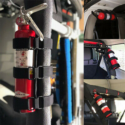Adjustable Car Roll Bar Fire Extinguisher Holder Mount Bracket Auto Fixed Us