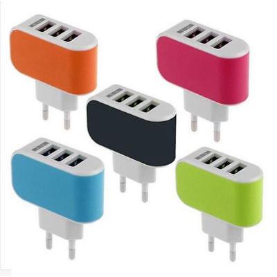 Ac Wall (3 Ports USB Multi Adapter Travel Wall AC Charger UK /EU /US /AU Plug for Phones)