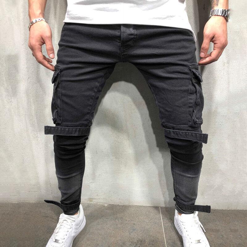 Mens Skinny Jeans Long Pants Cargo Combat Denim Slim Fit Bik