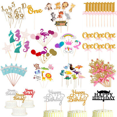Paper Cake Topper Baby Shower Happy Birthday Party Cupcake Food Dessert -