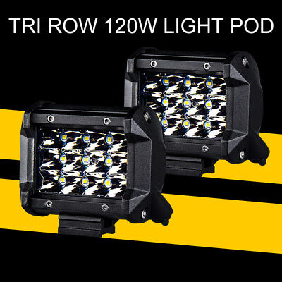 "Drive Off Road 60W Work LED Light Bar Pod Driving Spot Flush Flood Combo 4"" x2"