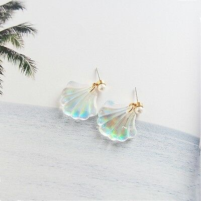 1Pair Women Fashion Resin Pearl Shell Sea Ear Stud Earrings Wedding Jewelry New