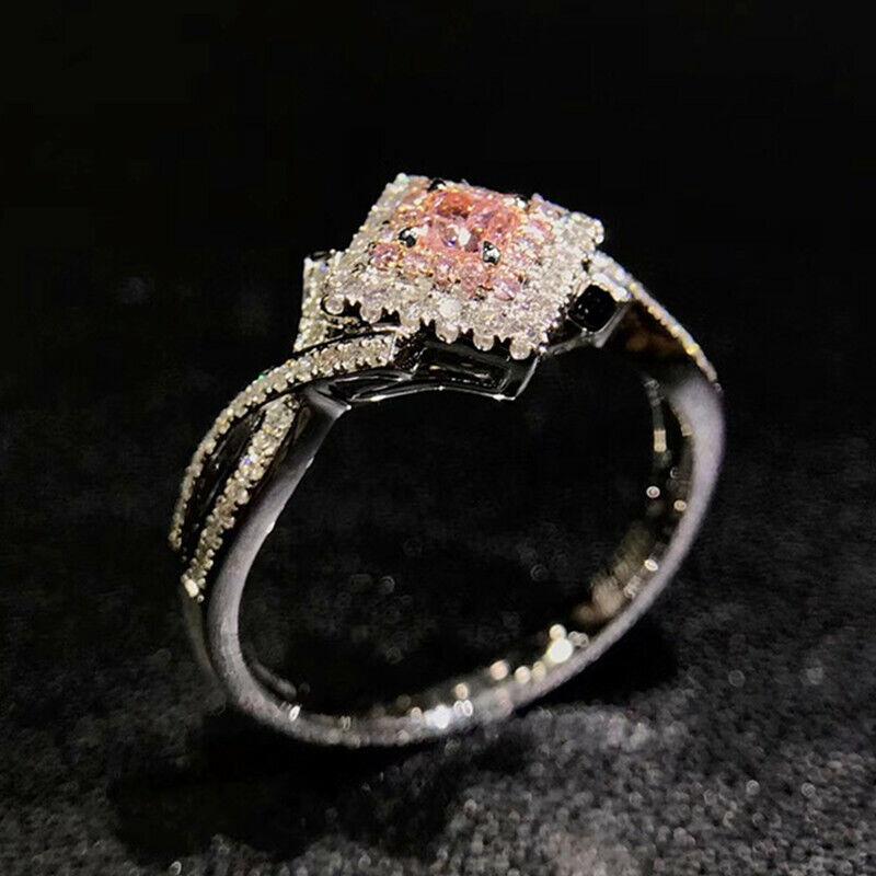 Elegant 925 Silver Jewelry Pink Sapphire Women Wedding Jewelry Gift Size 6-10 1
