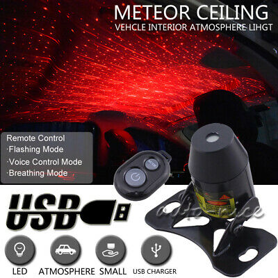 Car LED Atmosphere Ceiling Star Light Red Galaxy Lamp Music Voice Remote Control