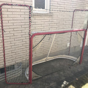 Hockey net with side and top guard