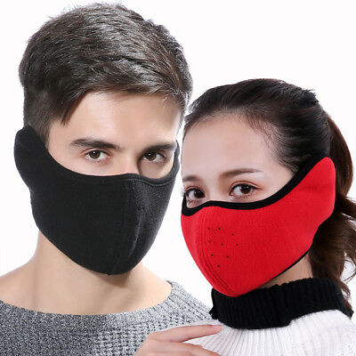 Motorcycle Cycling Ski Cold Winter Thermal Fleece Ear Warmer Half Face Mask US