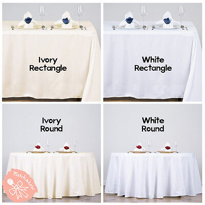 10 pcs Polyester Tablecloth Bulk for Party Choose White Ivory Round Rectangle