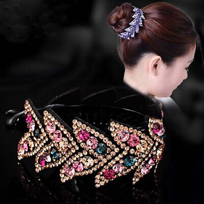 Women's Crystal Rhinestone Flower Hair Clips Claw Clamp Bun Net Hair Accessories (Hair Flower Clips)
