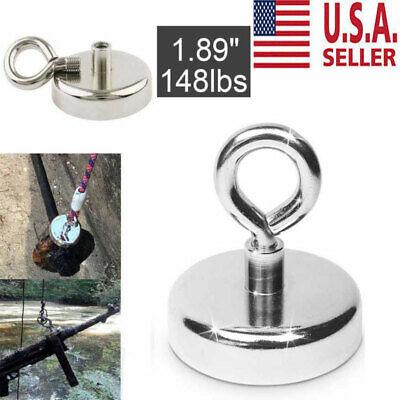 148lb Fishing Magnet Super Strong Round Neodymium Thick Eyebolt Treasure Hunt