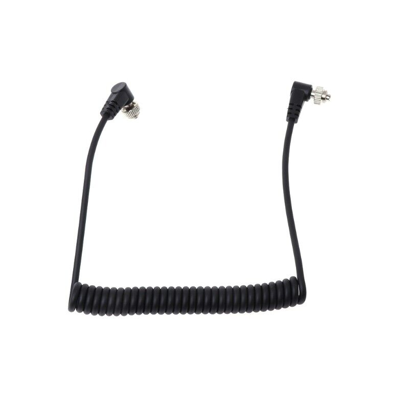 M-M PC Sync Cord Male To Male Flash Spring Cable With Screw Lock For CANON NIKON