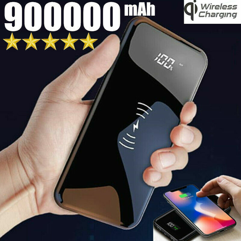 900000mAh Qi Wireless Power Bank Fast Charging Battery 2USB