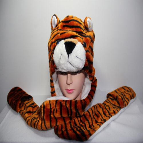 Kid Women Long Animal Hat Cap Hood Scarf Pocket Fleece Lined Snood Winter  Fur a83258778994