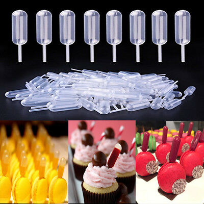 100x 4ml Mini Clear Plastic Transfer Pipettes Disposable Cupcake Squeeze Dropper