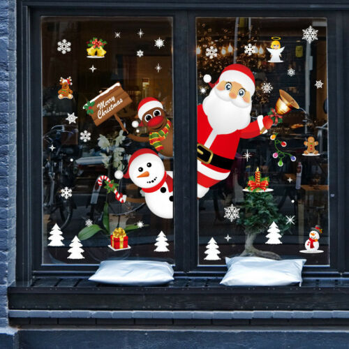 Home Decoration - Reusable Removable Christmas Shop Window Large Wall Stickers Art Xmas Decoration
