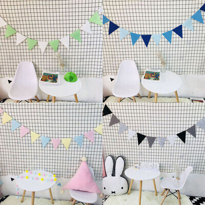 12PCS Non-woven Bunting Banner Fabric Triangle Flag for Party Home - Fabric Bunting Banner