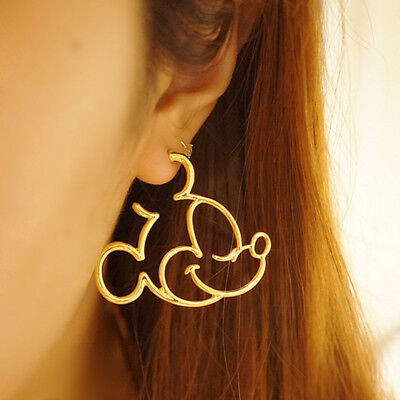 - GOLD PLATED MICKEY MOUSE HOOP EARRINGS MINNIE JEWELRY WALT DISNEY WORLD TRIP