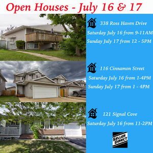 OPEN HOUSES - July 16 & 17 in Thickwood & Timberlea
