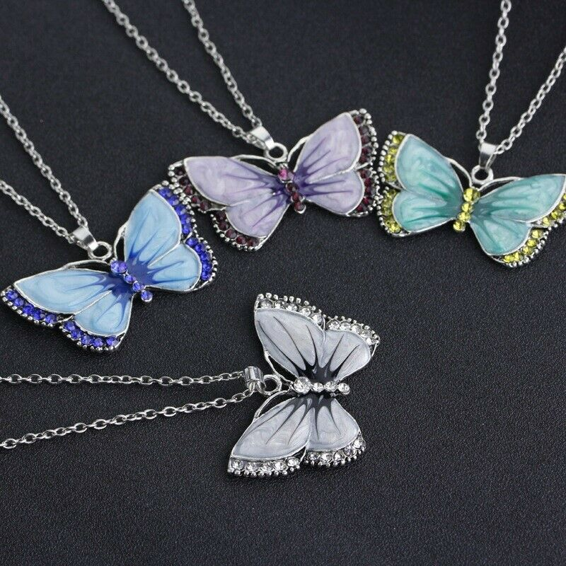 Jewellery - Vintage antique style Colour butterfly necklace Pendant Fashion Gift Jewellery
