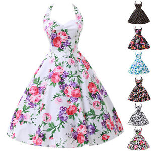 FLORAL-Rockabilly-Vintage-Swing-Lady-Evening-Dress-50s-Retro-Pin-Up-Prom-Dresses