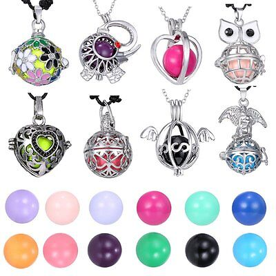 Harmony Ball Cage Leather Silver Locket Angel Caller Sound Bell Pendant Necklace - Angel Bell Necklace