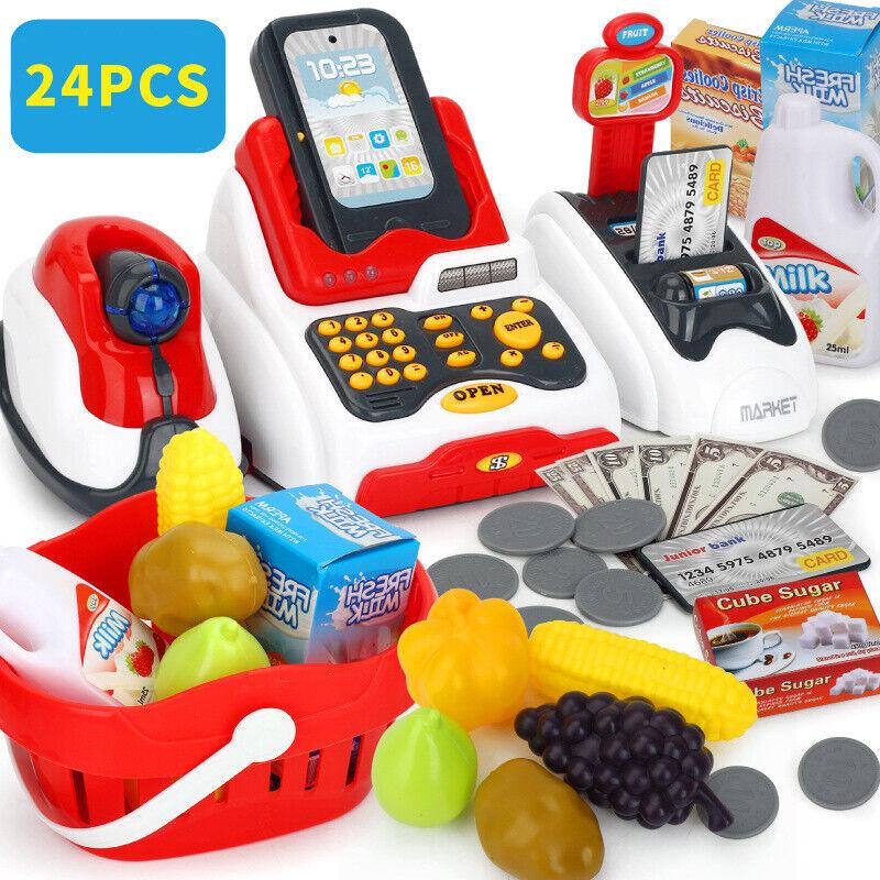Kids Cash Register Pretend Play Supermarket Shop Play Food G