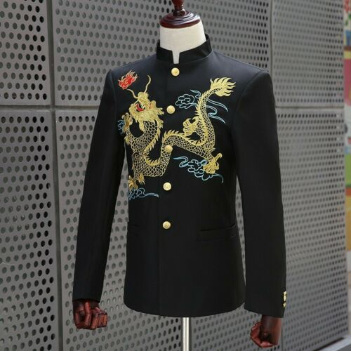 Men 2PCs Chinese Stand Collar Suit Slim Fit Costume Embroidery Coat Jacket Pants