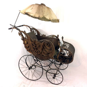 Antique Gendron Baby Carriage Ornate Stroller Buggy 1800's 19th