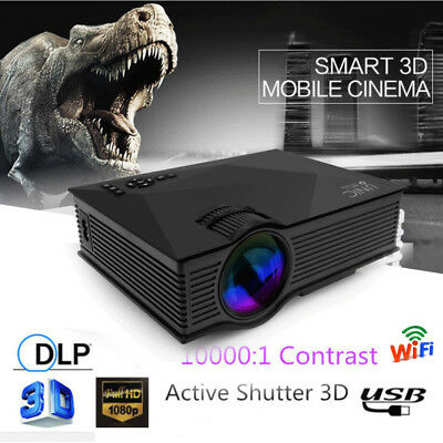 Full HD 1080p Smart 3D Wifi LED Projector Home Theater USB/SD/AV/HDM/VGA/IR UC46