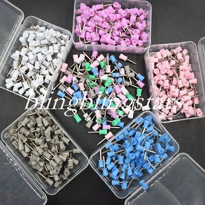 100 Pcs Dental Prophy Polishing Cup Rubber Brush Tooth Latch 4 Webbed Colorful