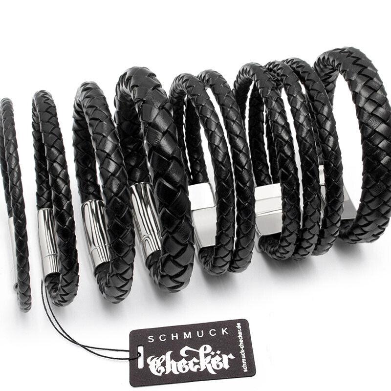 Echt Leder Herren Armband geflochten schwarz Edelstahl Schließe Hochwertig XL