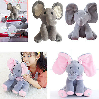 "12""Peek-a-boo Elephant Baby Plush Toy Singing Stuffed Animated Animal Dolls GW"