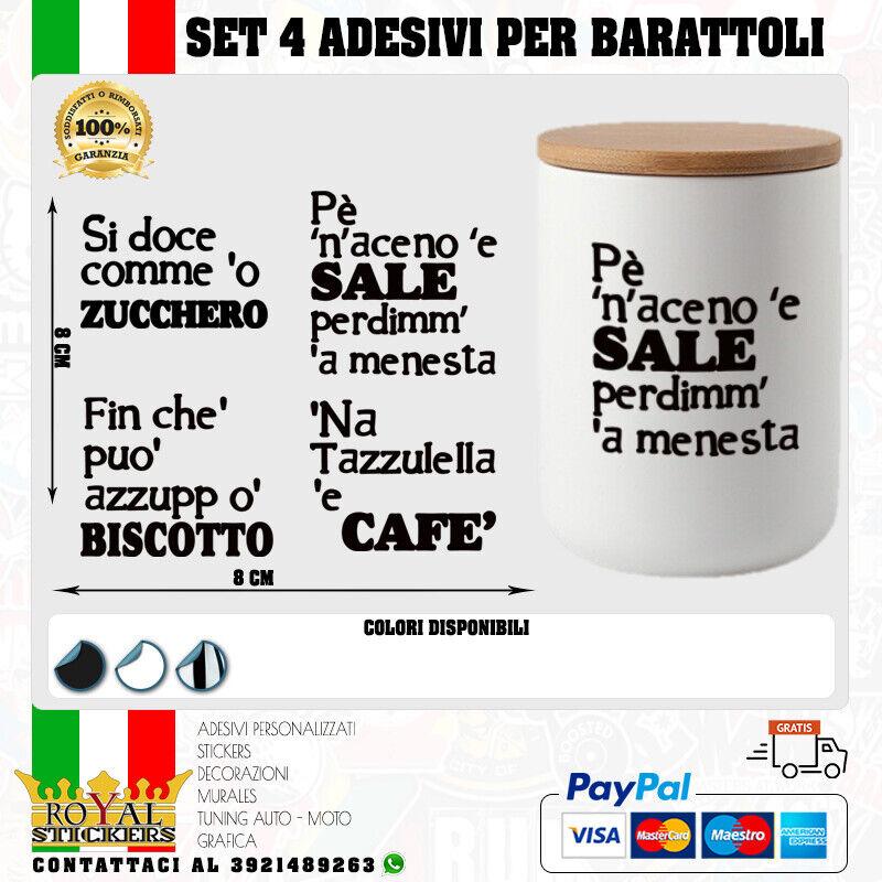 SET 4 ADESIVI X BARATTOLI SALE, ZUCCHERO, CAFFE' E BISCOTTO-CONTENITORI KITCHEN