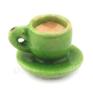 Dolls-House-Miniature-Handmade-Cup-of-Coffee-Tea-Green-Ceramic