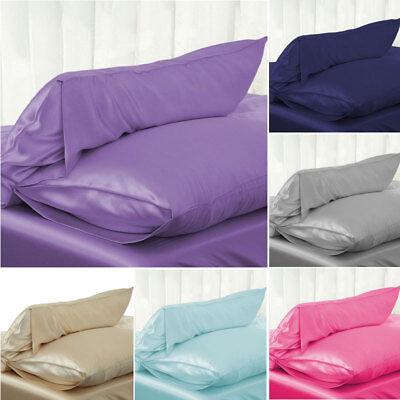 Solid Queen/Standard Silk Satin Pillow Case Bedding Pillowcase Smooth Home 2019 Bed Silk Bed Pillow