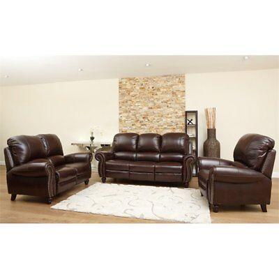 Abbyson Herzina Leather Reclining 3-Piece Living Room Set in