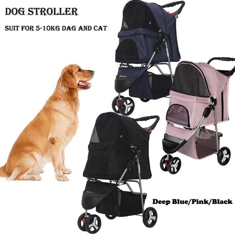 Pet Stroller Cat Dog 3 Wheel Jog Folding Lightweight Travel Breathable Carrier Dog Supplies