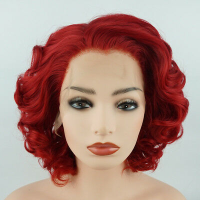 Meiyite Hair Wavy Short 10inch Red Half Hand Tied Synthetic Lace Front -