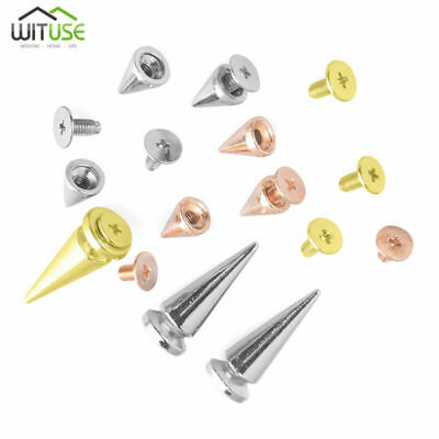 Metal Studs Punk Leathercraft Cone Screws Rivet Bullet Spikes Gold Or Silver -