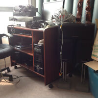 Computer,desk,chair,speakers,security system,shaw converters,