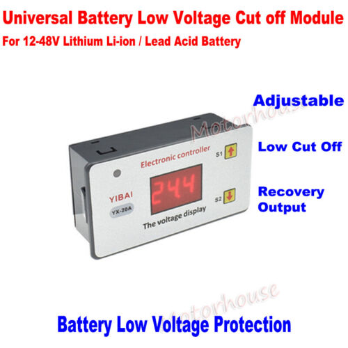 12V-48V Battery Adjustable Low Voltage Cut off Switch Protection Control Module
