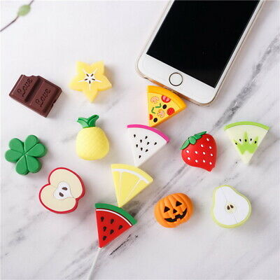 Cute Fruits Cable Bite Phone Charger Protector Soft Cord Cartoon -