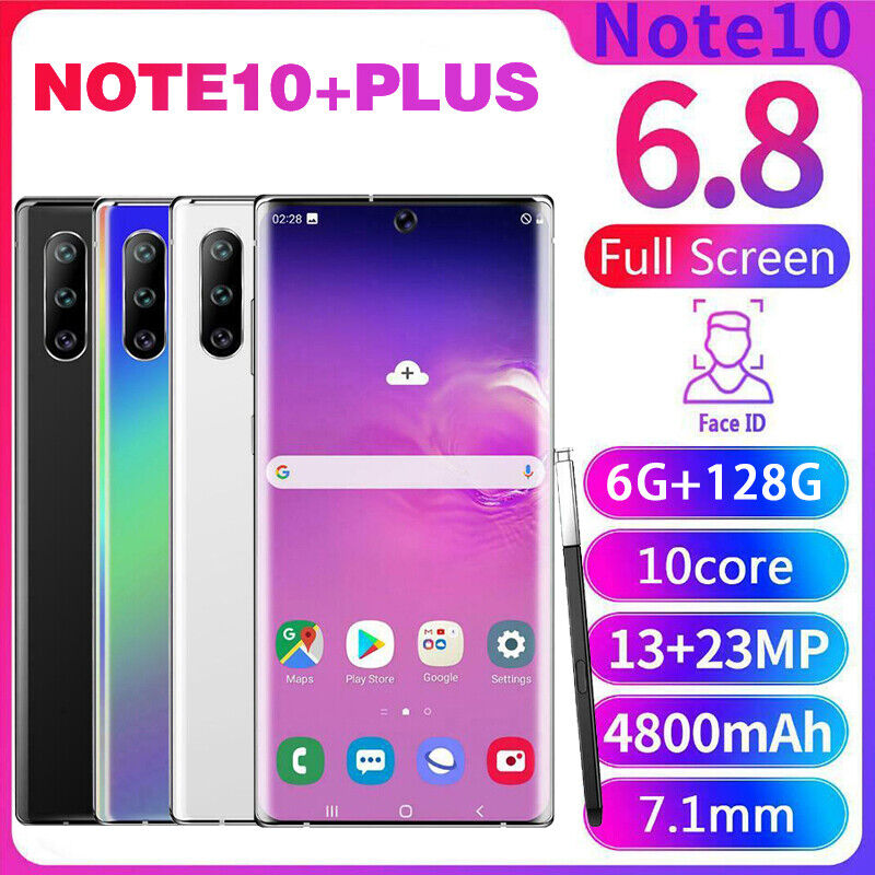 Android Phone - NOTE10+Plus 6.8'' Unlocked Smart Mobile Phone 6+128GB Android 9.1 HD Dual SIM 4G