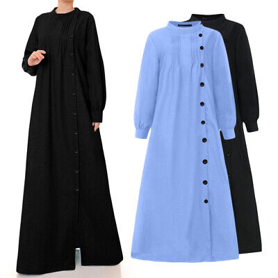 UK Women Kaftan Abaya Maxi Dress Islamic Muslim Long Sleeve Baggy Robe Size 8-26