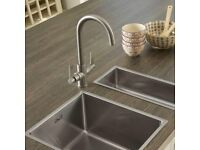 Brushed steel kitchen sink mixer tap