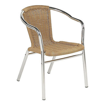 Aluminium and Honey Wicker Effect Stacking Outdoor Armchair Garden Metal Chair