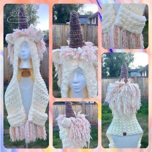 Hippie Unicorn Hat with pocket scarf